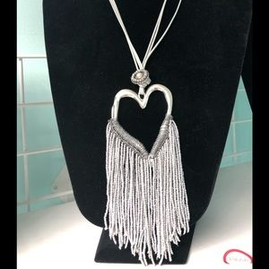 Sweater Necklace Silver tone with heart & beads